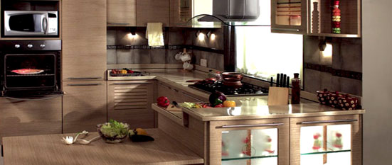 Sleek Brown Indian U Shaped Kitchen Design | Sleek Brown Indian U