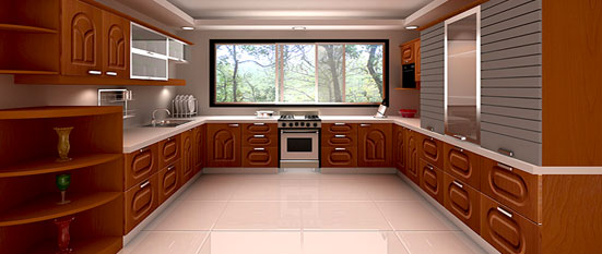U Shaped Kitchen Design Source. The Oak Wood Gives The Kitchen A Regal  Look. The Paneled Window Keeps The Kitchen Well Lit During The Day And Will  Also Do ...