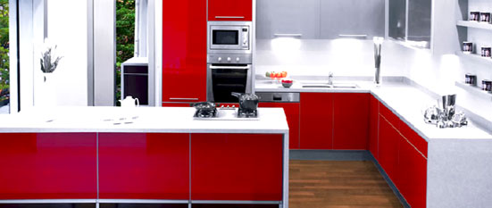Indian Island Kitchen Design  Sleek Red Glass Indian Island Kitchen