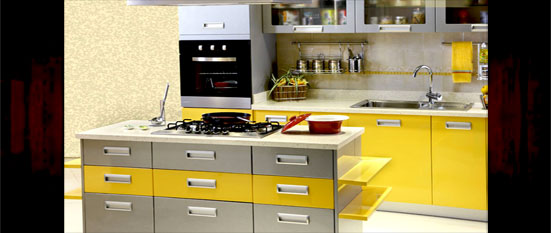 Yellow Indian Island Kitchen